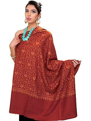 Burnt-Orange Pure Pashmina Shawl with Sozni Embroidered Flowers All-Over