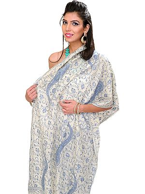 Kashmiri Tusha Stole with Sozni Hand Embroidered Large Paisleys