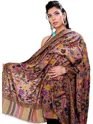 Warm-Taupe Kani Shawl From Kashmir with Woven Flowers in Multi-Colored Thread