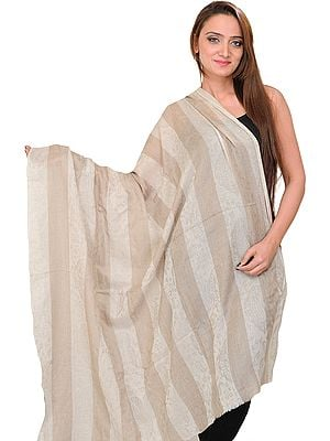 Moonstruck Pashmina Shawl with Woven Stripes and Self Weave, as an Imitation of Shahtush