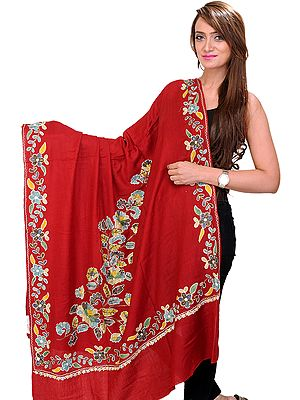 Shawl from Amritsar with Ari Embroidered Flowers in Multi-Colored Thread