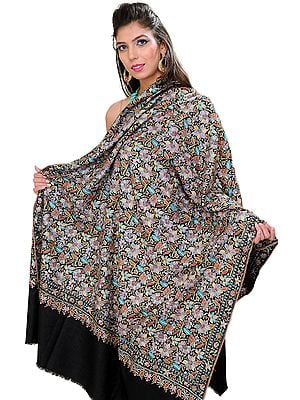 Jet-Black Superfine Kashmiri Pure Pashmina Shawl with Intricate Sozni Embroidered Flowers