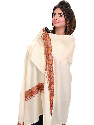Plain Shawl from Kashmir with Sozni Embroidery on Border