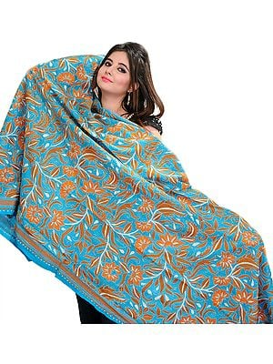 Capri-Breeze Kantha Dupatta with Hand-Embroidered Flowers and Leaves
