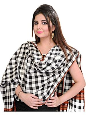 White and Black Stole From Kullu with Woven Checks and Kinnauri Border