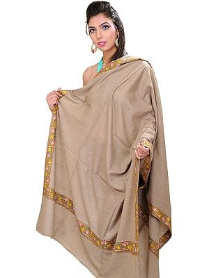 Cobblestone-Colored Plain Pure Pashmina Shawl from Kashmir with Sozni Embroidered Maple Leaves on Border