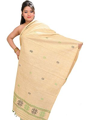 Summer-Melon Eri Dupatta from Assam With Woven Bootis