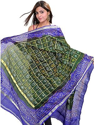 Kombu-Green Bandhani Tie-Dye Gharchola Dupatta From Gujarat with Golden Thread Weave