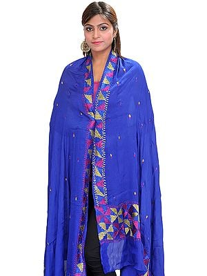 Phulkari Dupatta from Punjab with Hand-Embroidered Border and Bootis