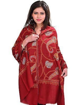 Kashmiri Tusha Stole with Sozni Hand-Embroidered Paisleys