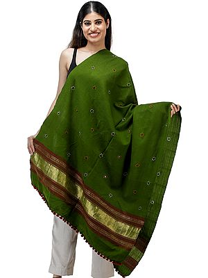 Shawl from Kutch with Embroidered Bootis and Golden Woven Border