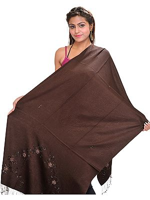 Chocolate-Brown Plain Handloom Cashmere Stole from Nepal with Emboridered Beads