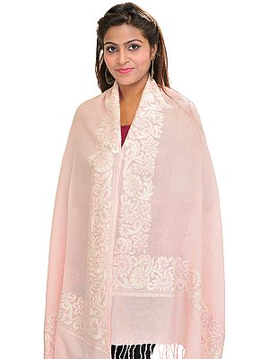 Plain Stole From Amritsar with Ari Embroidery on Border
