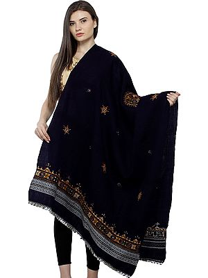 Shawl from Kutch with Central Embroidered Chakra and Mirrors