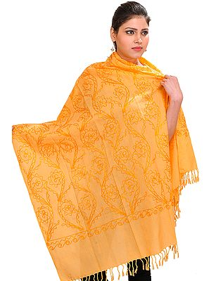 Flax-Yellow Stole with Embroidery in Self Colored Thread