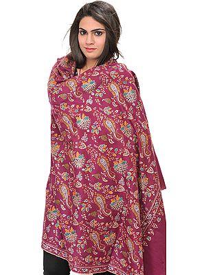 Violet-Quartz Kashmiri Pashmina Shawl with Sozni Hand-Embroidery All-Over