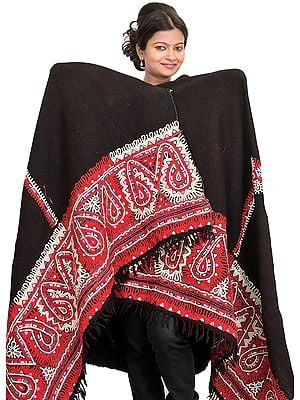 Jet-Black Antiquated Shawl from Kutch with Rabari Embroidered Border and Mirrors