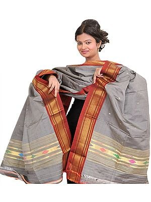 Frost-Gray Paithani Dupatta with Woven Bootis and Golden Zari Border