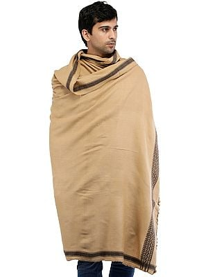 Men's Plain Shawl from Kutch with Thread Weave on Border