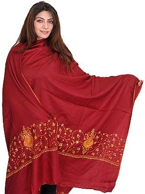 Tusha Shawl with Sozni Hand-Embroidery on Border