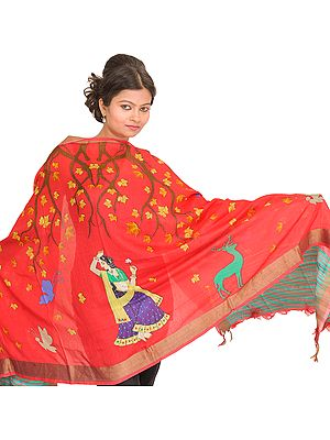 Geranium-Pink Digital-Printed Dupatta from Banaras