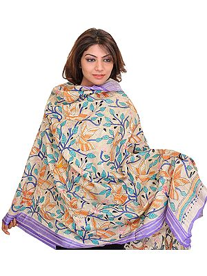 Cloud-Cream Dupatta from Bengal with Kantha Embroidered Sparrows and Foliage