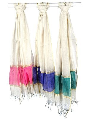 Lot of Three Ivory Dupattas with Golden Thread Weave