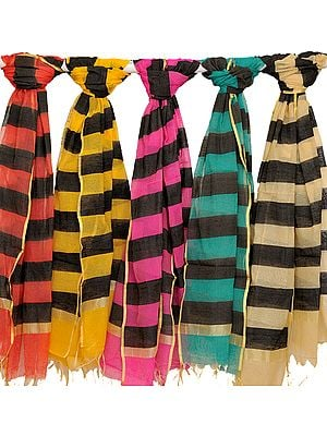Lot of Five Dupattas with Woven Black Stripes
