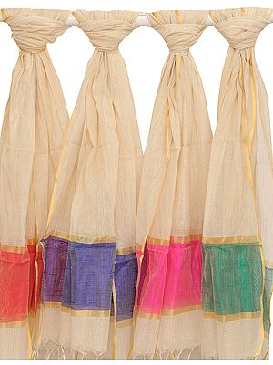 Lot of Four Ivory Dupattas with Golden Thread Weave