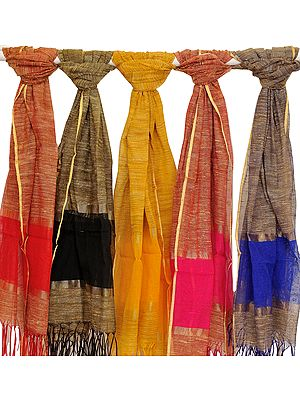 Lot of Five Dupattas from Banaras with Solid Border