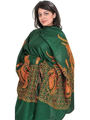 Tusha Shawl from Kashmir with Sozni Hand-Embroidered Paisleys