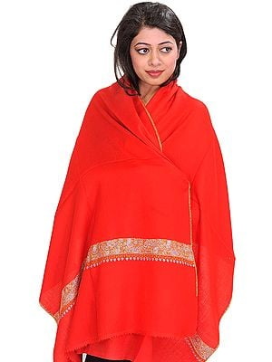 Plain Tusha Cashmere Stole from Kashmir with Sozni Hand-Embroidery on Border