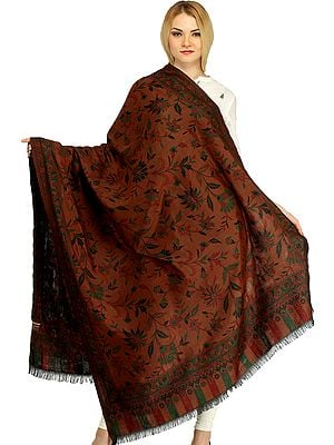 Reversible Jamawar Shawl from Amritsar with Woven Flowers