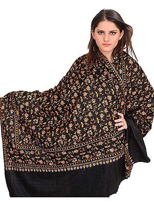 Jet-Black Kashmiri Pure Pashmina Shawl with Sozni Embroidered Paisleys by Hand
