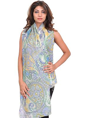 Zephyr-Green Digital-Printed Stole with Large Paisleys