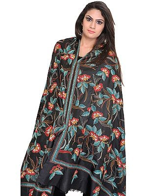 Caviar-Black Dupatta from Kolkata with Kantha Hand-Embroidered Flowers