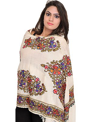 Stole from Amritsar with Floral Ari-Embroidery in Multicolor Thread