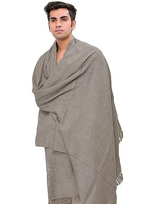 Moonrock-Gray Plain Men's Angora Dushala (Lohi) from Kullu