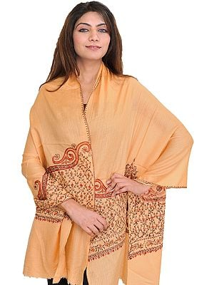 Caramel-Cream Tusha Stole from Kashmir with Sozni Hand-Embroidery on Border
