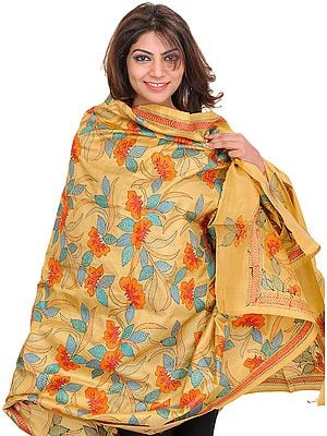 Italian-Straw Dupatta from Kolkata with Kantha Hand-Embroidered Flowers