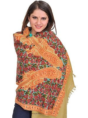 Hemp-Green Stole from Kashmir with Ari Hand-Embroidered Flowers and Paisleys