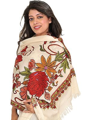 Stole from Kashmir with Hand Ari-Embroidered Large Flowers