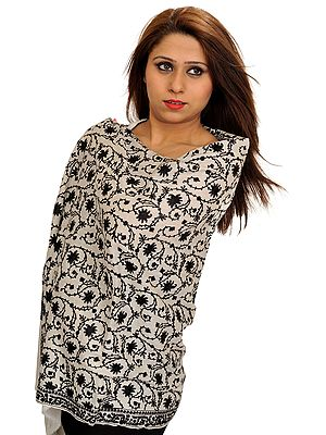 White and Black Ari-Embroidered Shawl from Kashmir