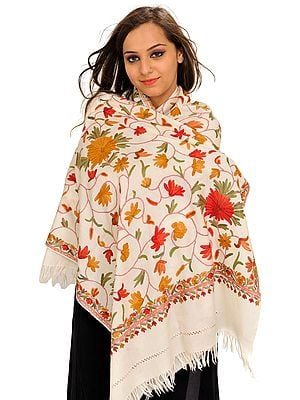 Floral Ari Hand-Embroidered Stole from Kashmir