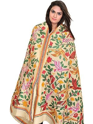 Alabaster-Gleam Dupatta from Kolkata with Kantha Hand-Embroidered Birds and Foliage