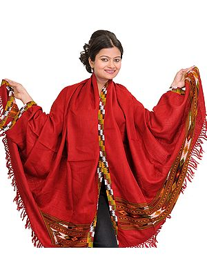 Garnet-Red Plain Shawl from Kullu with Kinnauri Woven Border