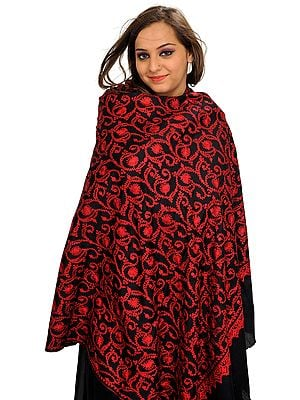 Black and Red Shawl from Kashmir with Ari Embroidery All-Over