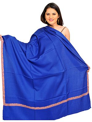 Plain Tusha Shawl from Kashmir with Sozni Hand-Embroidery on Border