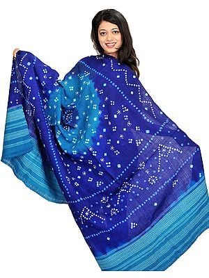 Bandhani Tie-Dye Shawl from Kutch with Embroidered Mirrors