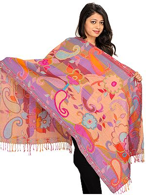 Multicolor Reversible Jamawar Stole with Woven Paisleys and Wool-Embroidery